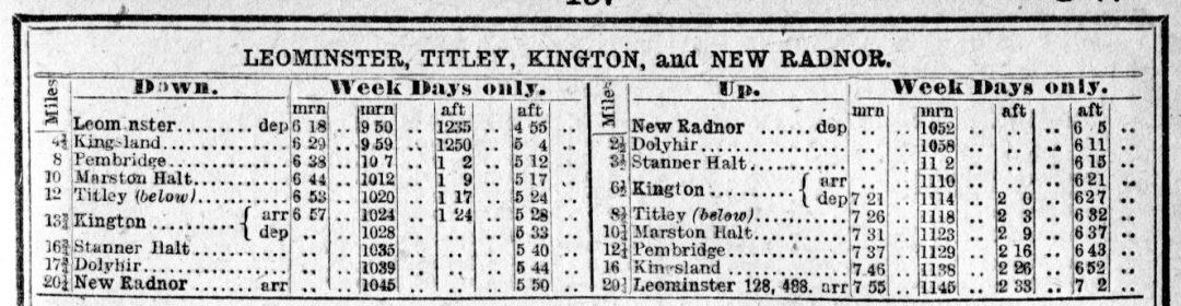 The Leominster to Kington timetable for 1945